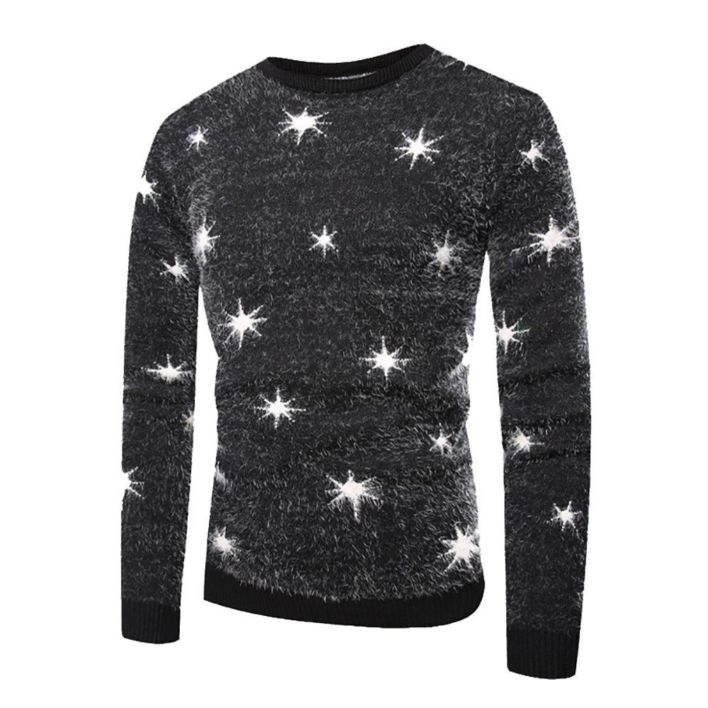 Online Men's Casual Round Collar Colorblock Print Long Sleeve Sweater