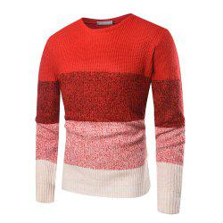 Men's Casual Round Neck Color Matching Long Sleeve Sweater -