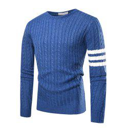 Men's Casual Round Neck Striped Long-sleeved Slim Sweater -