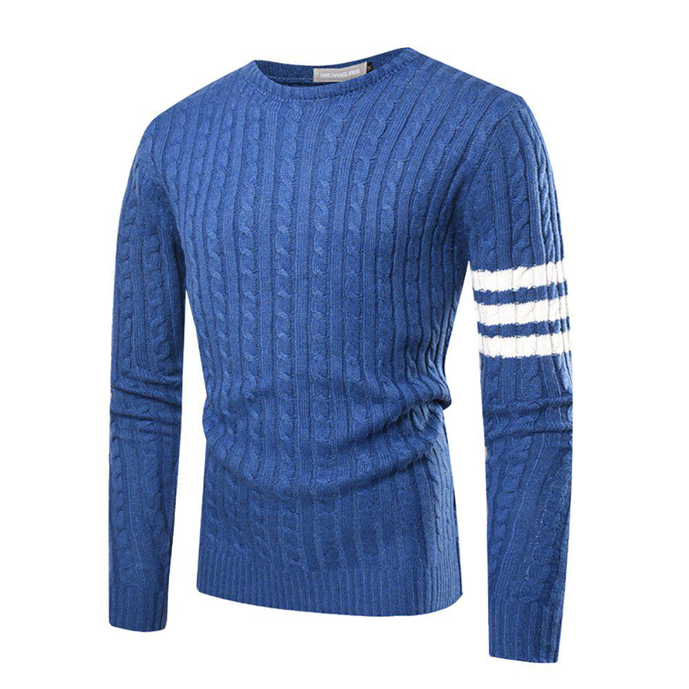 Shop Men's Casual Round Neck Striped Long-sleeved Slim Sweater