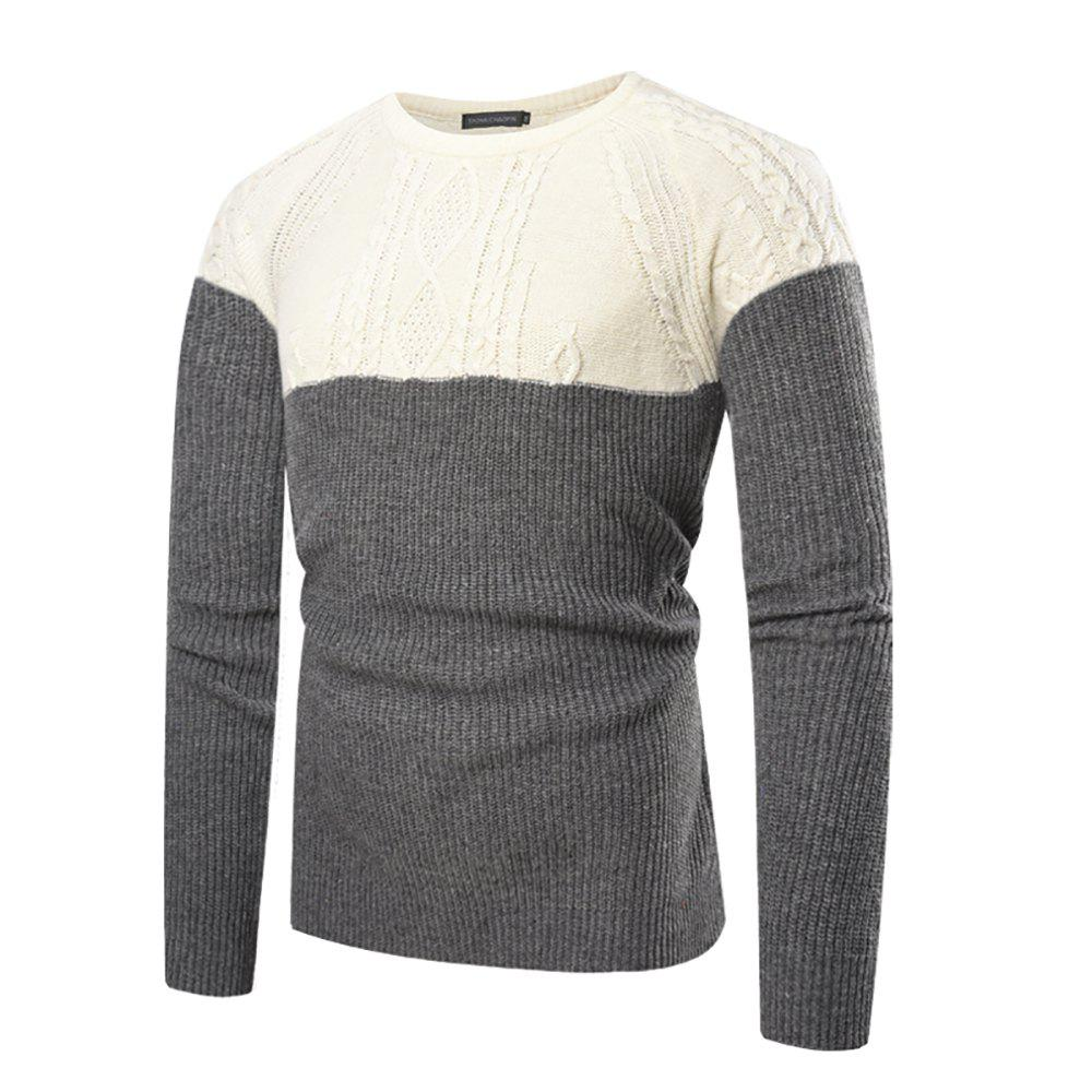 Chic Men's Casual Slim Round Neck Color Long Sleeve Sweater