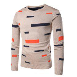 Men's Casual Round Neck Striped Long Sleeve Sweater -