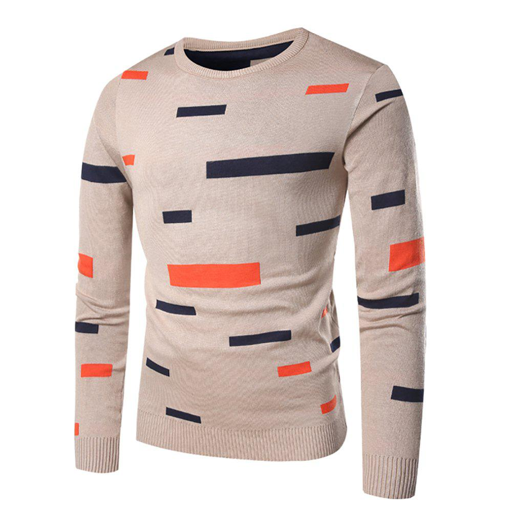 Chic Men's Casual Round Neck Striped Long Sleeve Sweater
