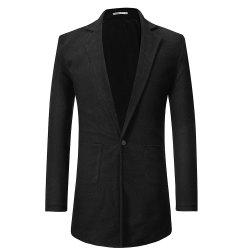 Men's Casual Long Lapels Solid Color Long-sleeved Sweater -