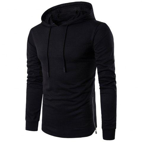Fashionable Solid Color Thin Zipper Decorated Men'S Hoodie Casual Coat