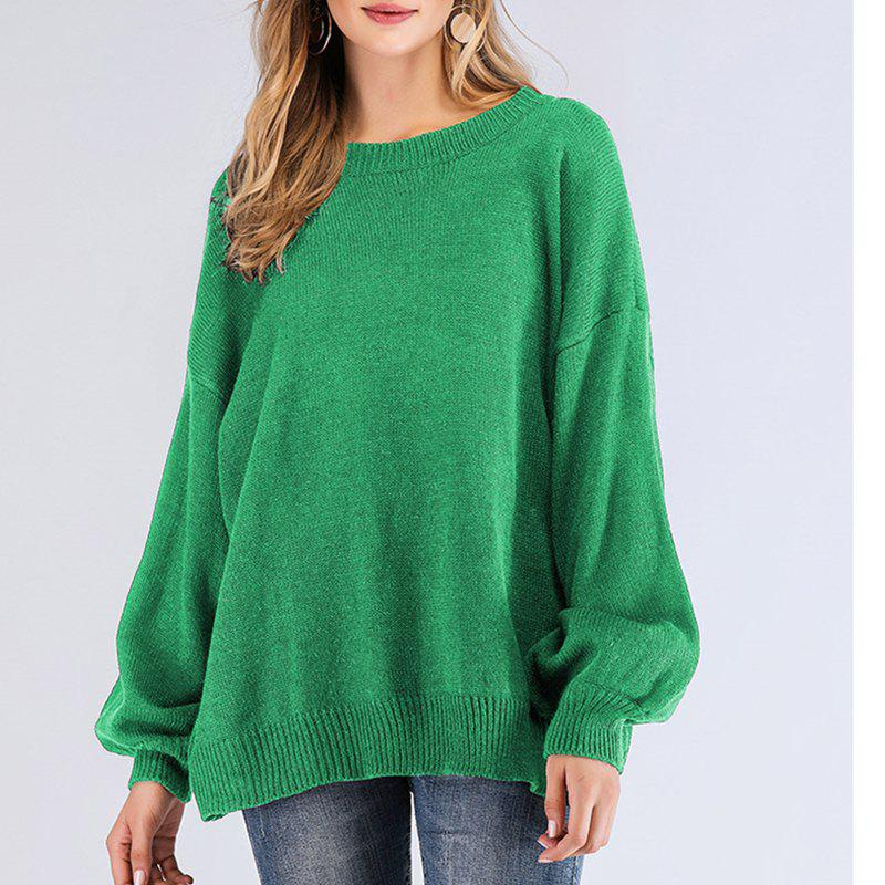 407d7d07a9 2019 Long Sleeve Round Collar Solid Color Lantern Sleeve Sweater ...