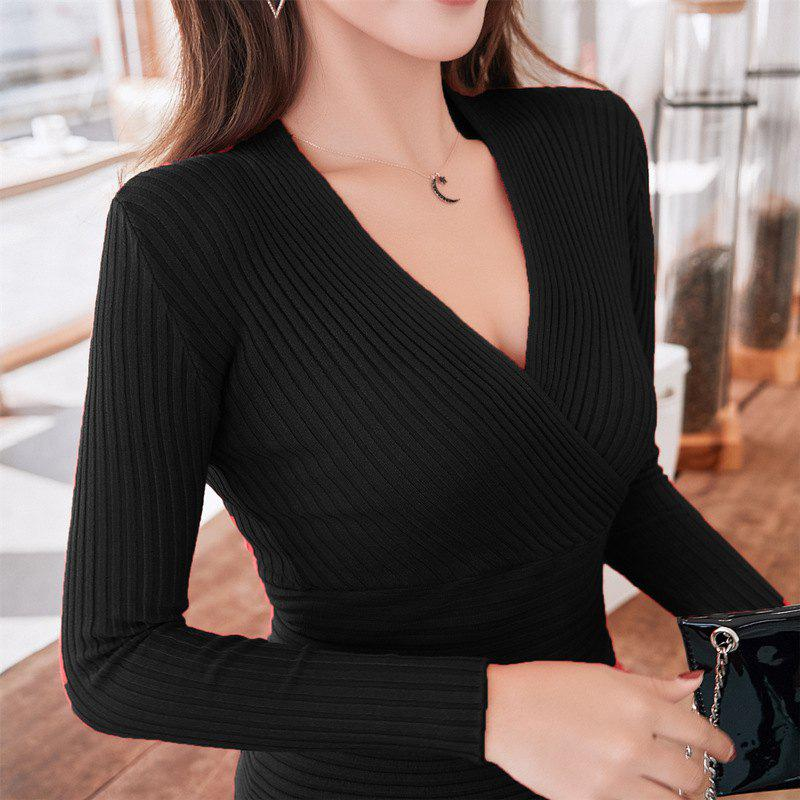 New Sexy V-Neck Low-Cut Slim Fashion Tight-Fitting Sweater