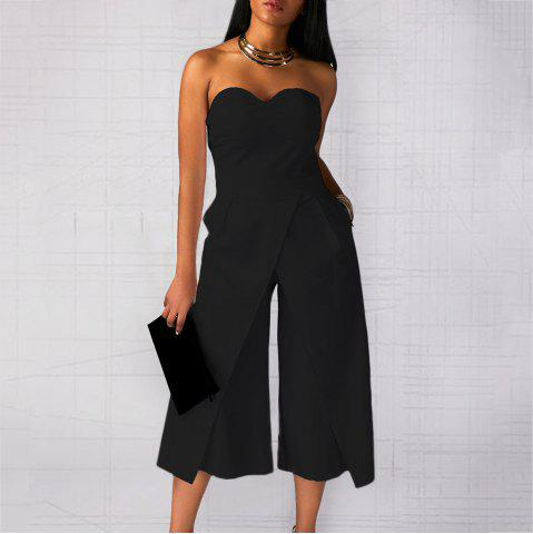 Strapless Shoulder Pockets Front Slit Sexy One-Piece Cropped Trousers d86e4f230