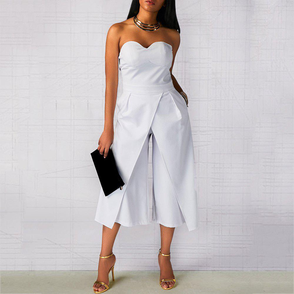Strapless Shoulder Pockets Front Slit Sexy One-Piece Cropped Trousers