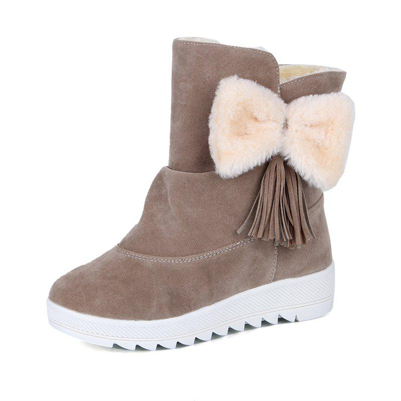 New Short Tube Snow Boots Bow Tie Thick Cotton Shoes.