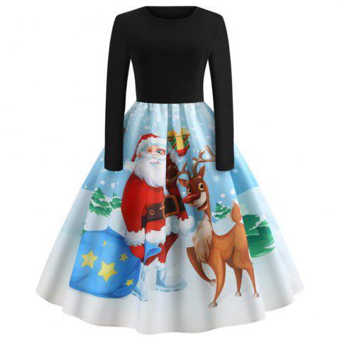 Winter Christmas Print Long Sleeve Deer Dress