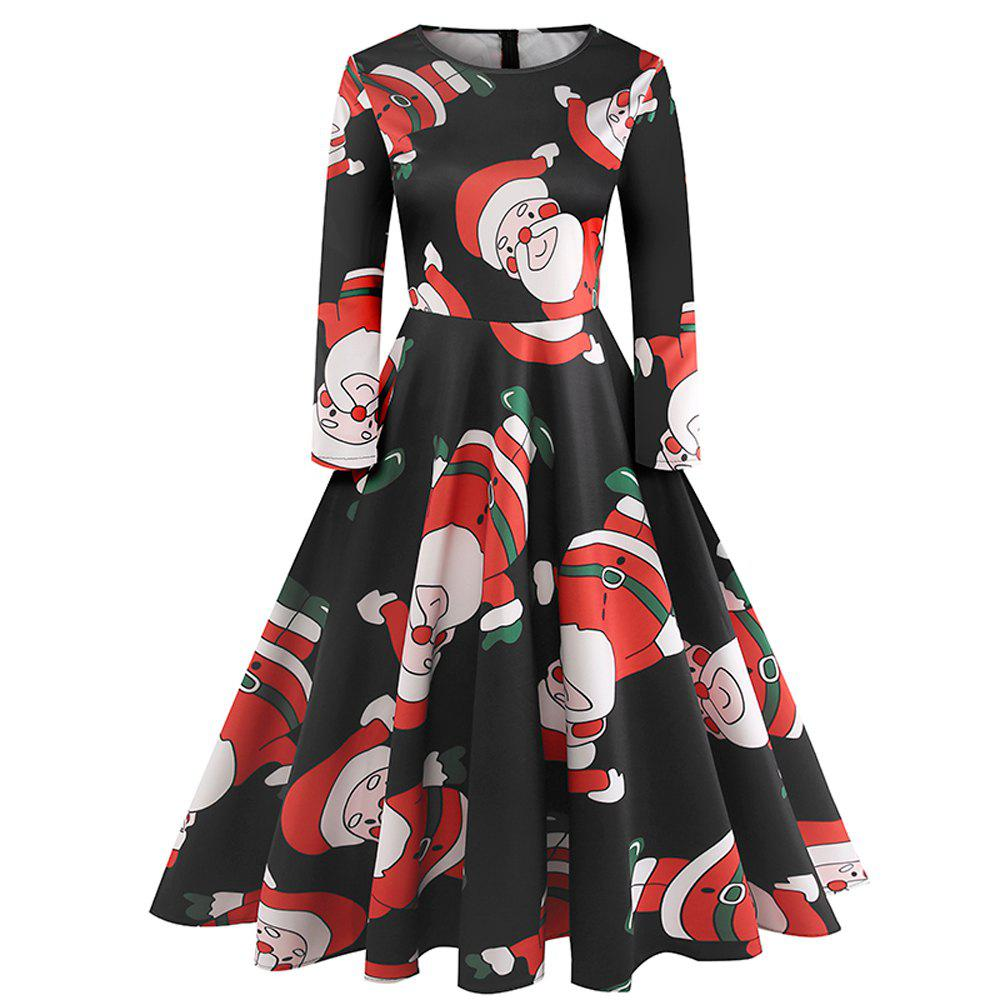 Outfit Winter Long Sleeve Christmas Print Dress