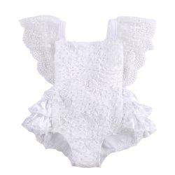 Infant Baby Girl Clothes Lace Tutu Romper Sleeveless White Summer Outfits -