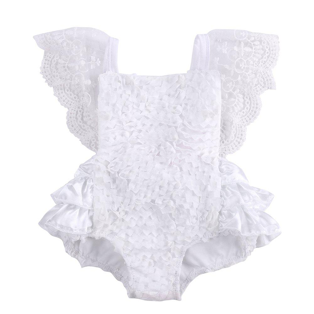 Sale Infant Baby Girl Clothes Lace Tutu Romper Sleeveless White Summer Outfits