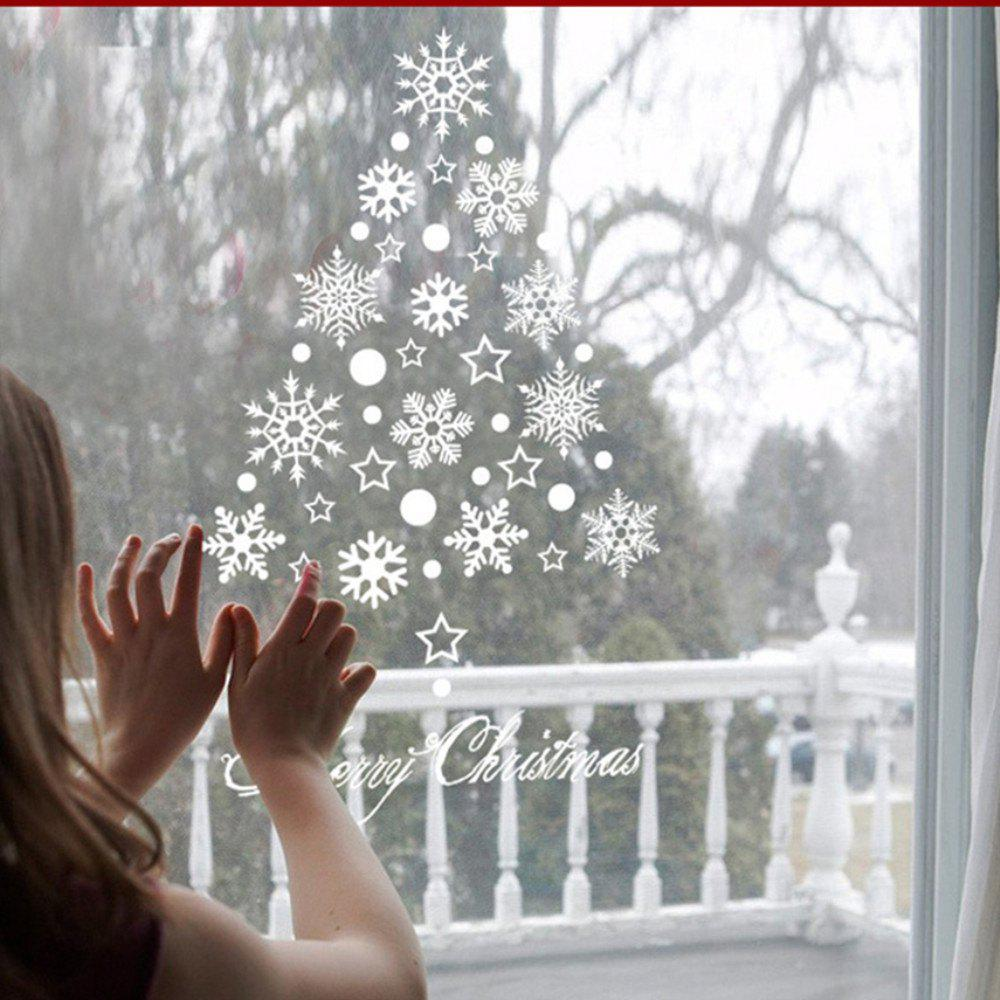 Merry Christmas Restaurant Mall Decoration Snow Glass Window Removable Stickers