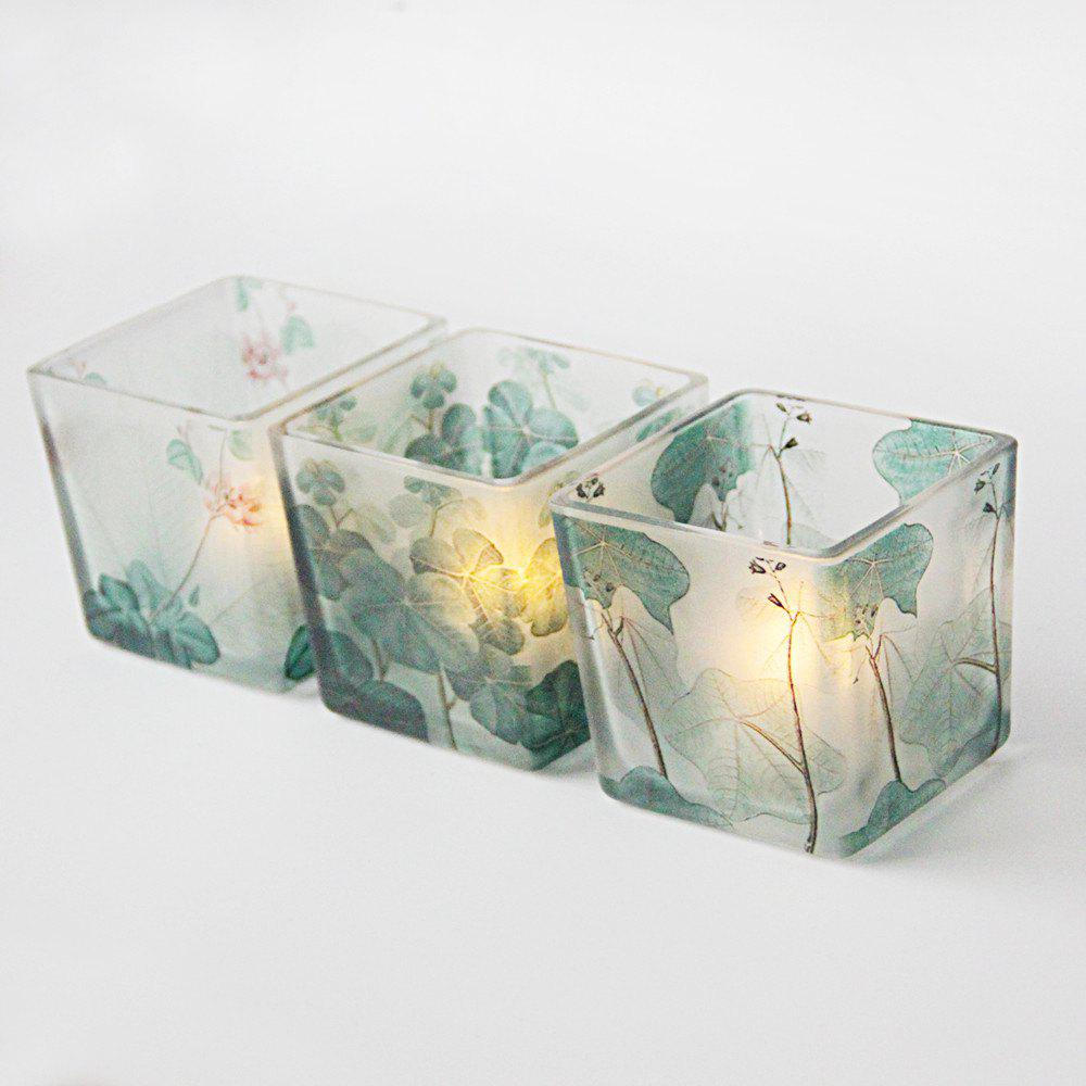 Store 3PCS Leaves Pattern Brief Style Glass Candle Cup Holder Wedding Home Decoration