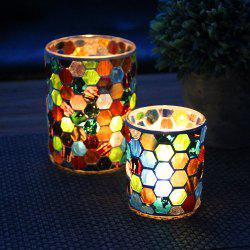 Colored Mosaic Glass Candle Holder Proposal Wedding Party Bar Decorations -