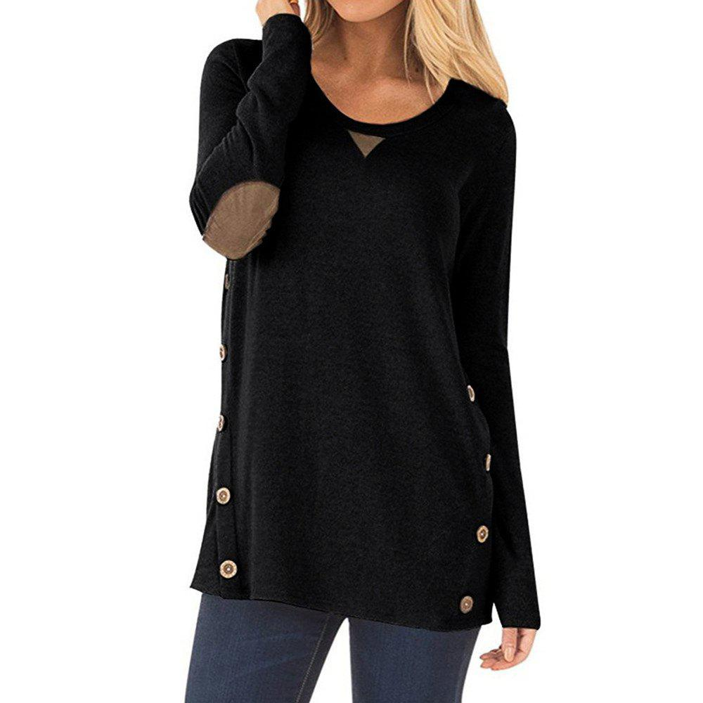 Trendy Women's Round Neck Button Patch Design Solid Color Casual Long Sleeve T-shirt