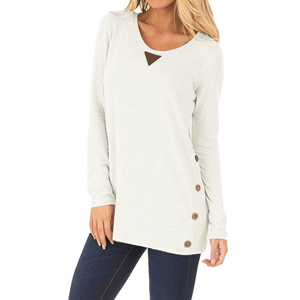 Store Women's Round Neck Button Patch Design Solid Color Casual Long Sleeve T-shirt