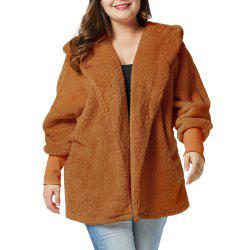 Plus Size Fat People Lantern Sleeve Thickness Double-faced Pile Plush Coat -