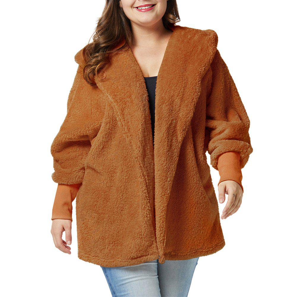 Chic Plus Size Fat People Lantern Sleeve Thickness Double-faced Pile Plush Coat