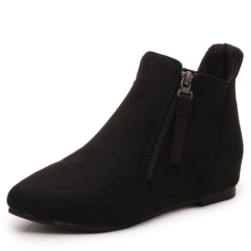 0306480caeba4 Inner Raised Zipper Suede Casual Ankle Boots Flat Heel Running Shoes