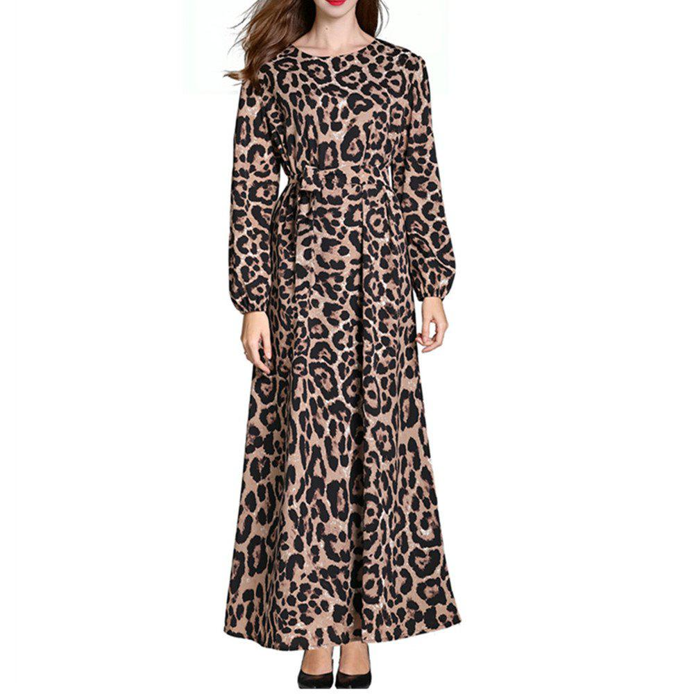 e27e316cb 43% OFF] A Long-Sleeved Leopard Print Dress | Rosegal