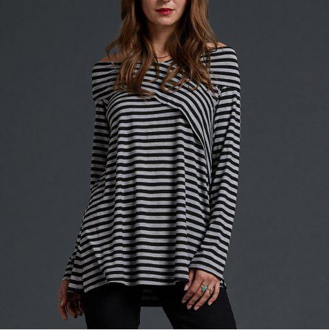 SBETRO Off Shoulder Striped Knit Shirt Long Sleeve Tunic Pullover