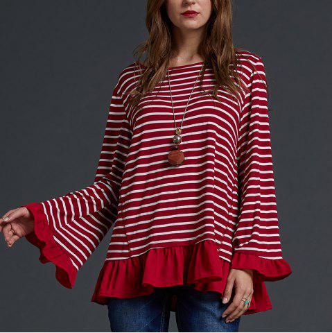 SBETRO Crewneck Knit Shirt Long Sleeve Ruffle Striped Tunic Top Pullover