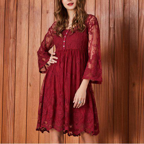 SBETRO Dressy Party Lace Dress Mesh Empire Waisted Above Knee 3/4 Bell Sleeve