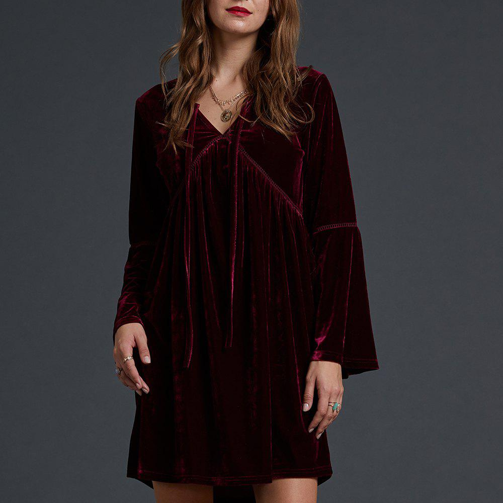 Unique SBETRO Fashion Dressy Party Knit Dress Solid Bell Sleeve V-Neck Empire Waist