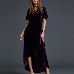 SBETRO Dressy Party Dress Mesh Floral Bell Sleeve Empire Waisted Ankle Length -