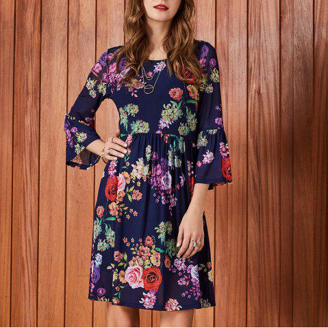 0661846351f SBETRO Floral Print Dress Round Neck Bell Sleeve Empire Waisted Knee Length