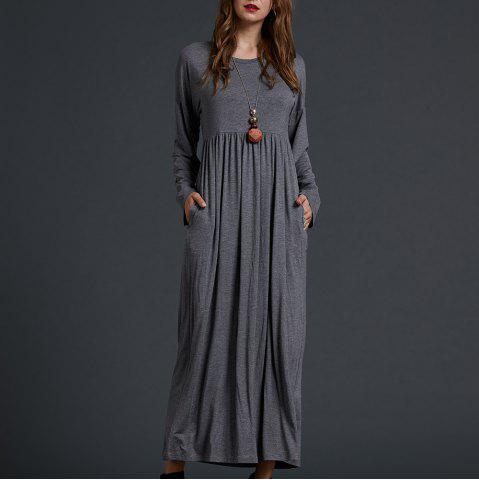 SBETRO Solid Knit Maxi Dress Solid Knit Empire Waisted Casual Fashion
