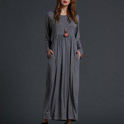 SBETRO Solid Knit Maxi Dress Solid Knit Empire Waisted Casual Fashion -