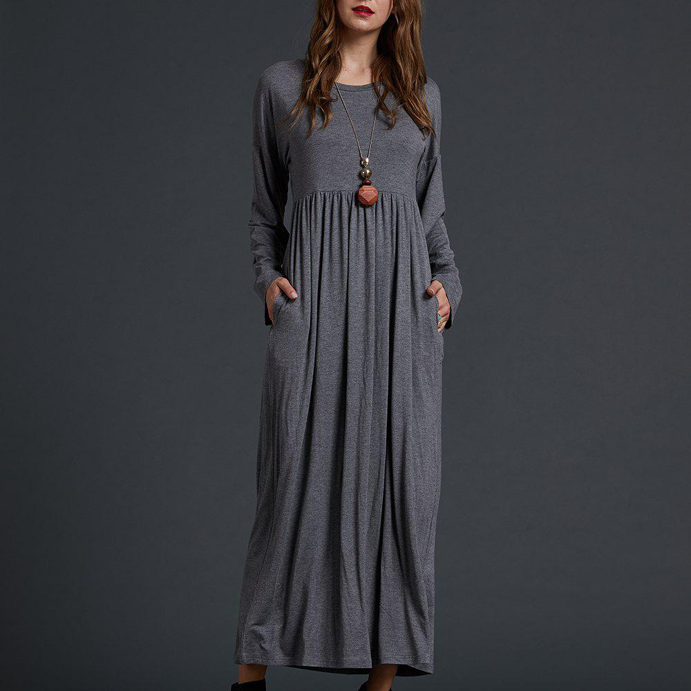 Chic SBETRO Solid Knit Maxi Dress Solid Knit Empire Waisted Casual Fashion