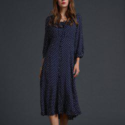 SBETRO Polka Dots Midi Dresss Ruffle Trim V Neck Single-breasted -