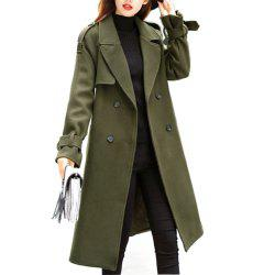 Long Slim Fitting Woolen Coat -