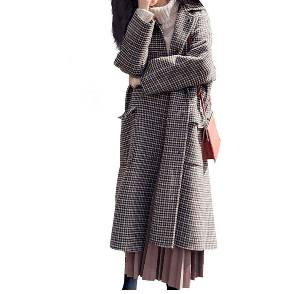 Outfits Chic Lattice Long Woolen Coat