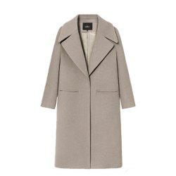 Loose Long Solid Color Woolen Coat -