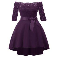 A Strap-Shouldered Cocktail Dress with Lace Dovetail -