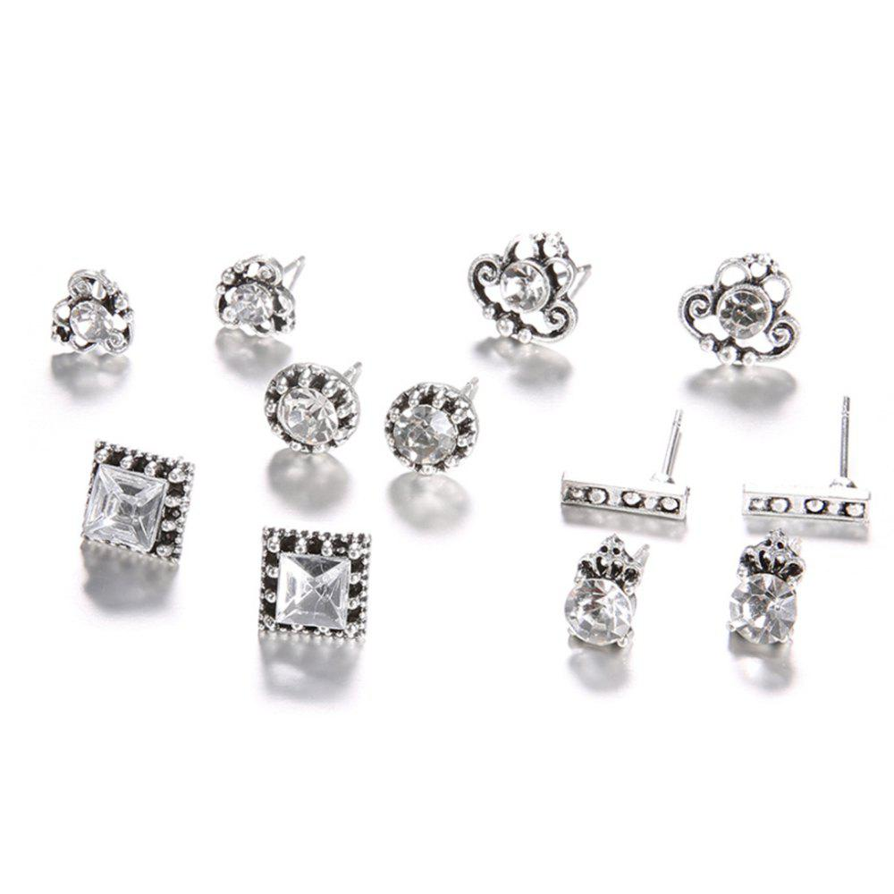 6-PIECE Fashion Vintage Small Crown Set with Diamond Rectangular Female Earrings