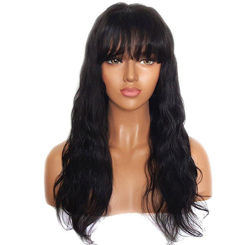 Unique Long Natural Wave Human Hair Lace Front Wigs with Bang