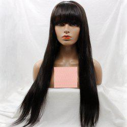 Long Silky Straight Lace Front Wig With Bang Human Hair Wig -