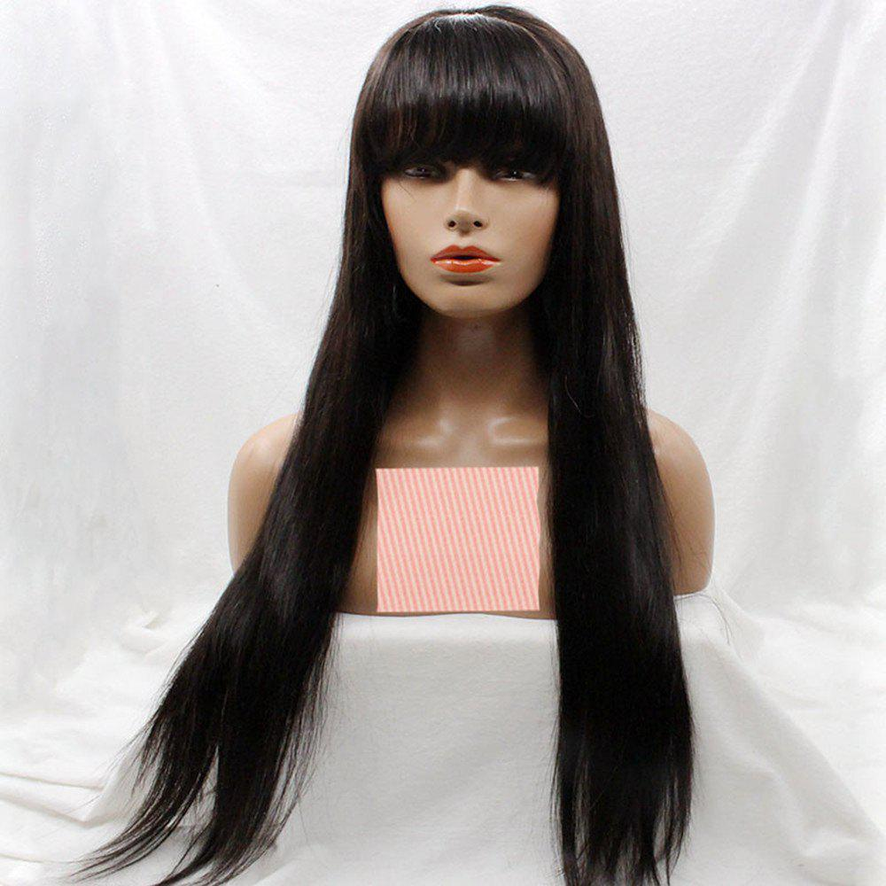 Unique Long Silky Straight Lace Front Wig With Bang Human Hair Wig