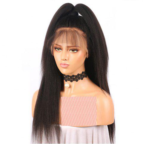 Yaki Straight Middle Part Natrural Black Lace Front Human Hair Wigs