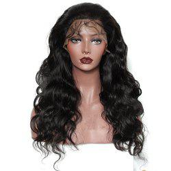 Long Body Wave Free Part Natural Black Lace Front Human Hair Wigs with Baby Hair -