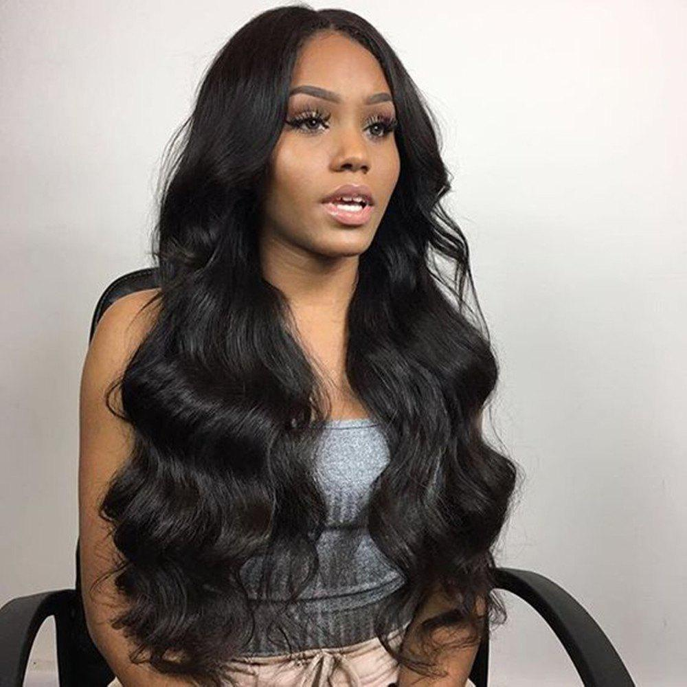 Cheap Long Body Wave Natural Black Color Human Hair Lace Front Wigs Bleached Knots