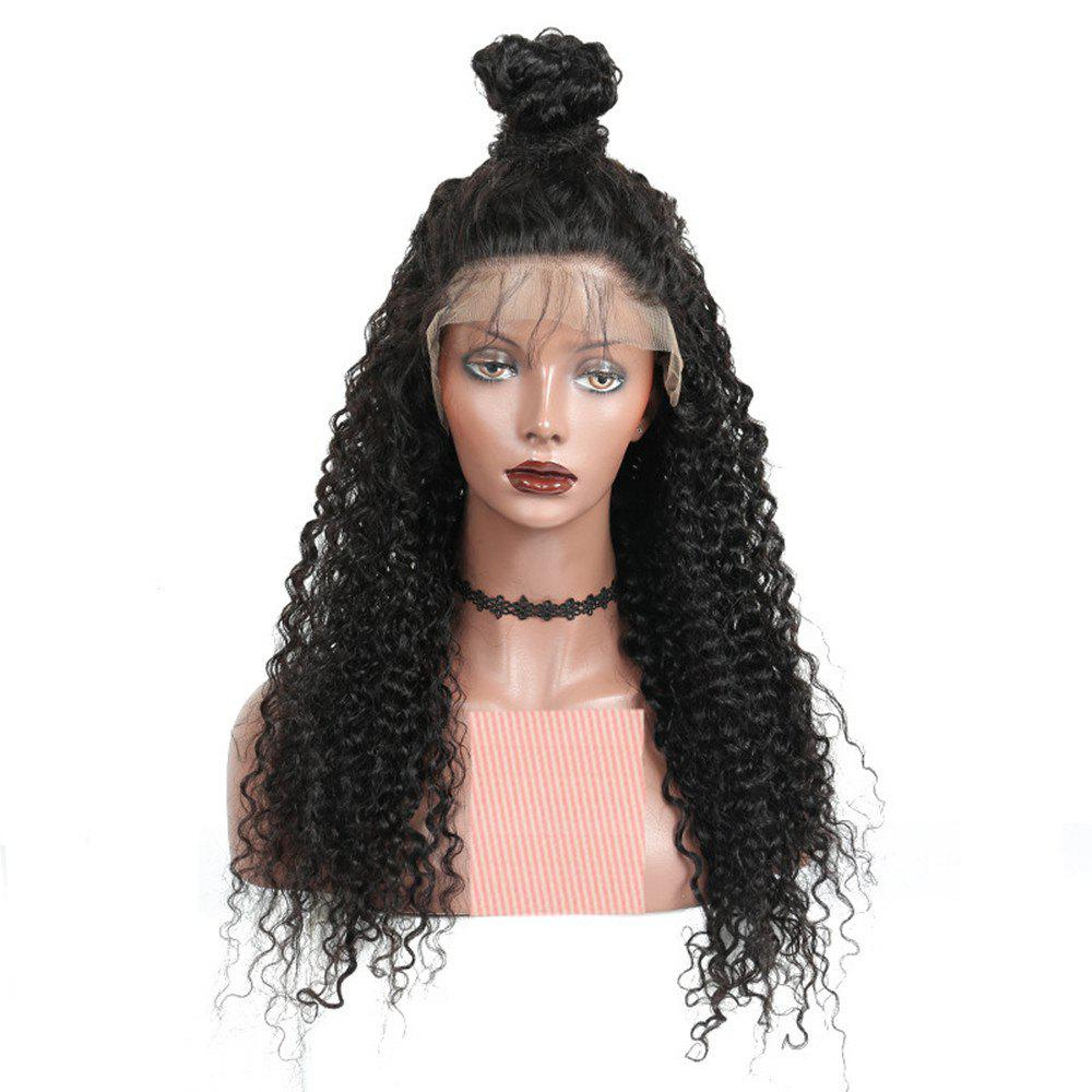 Outfits Long Deep Curly Natural Black Color Lace Front Wigs with Baby Hair For Women