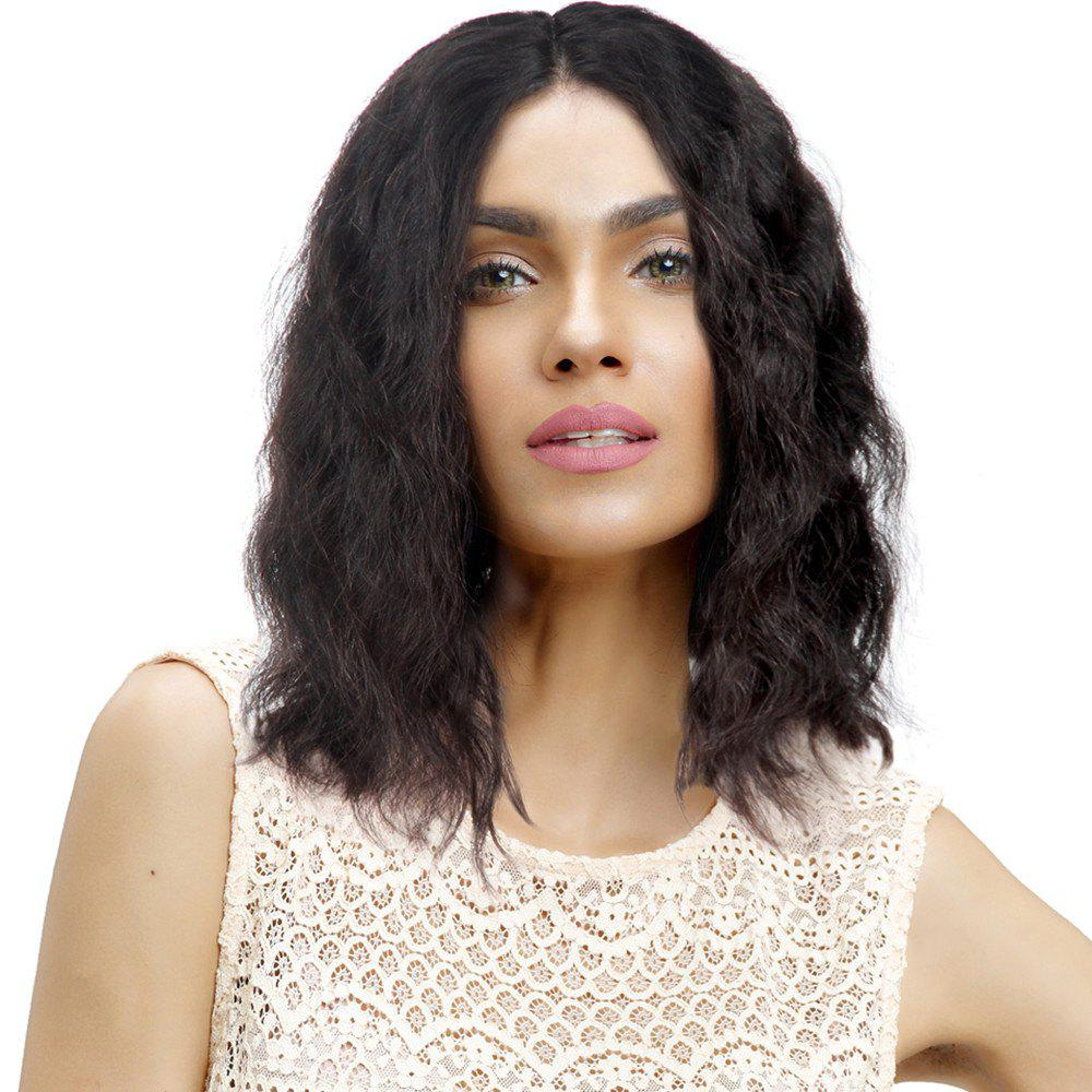 Outfits Short Natural Wave Middle Part Human Hair Lace Front Wig Bleached Knots